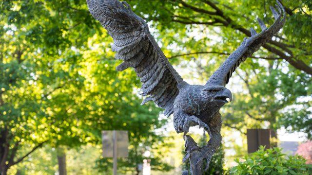Eagle statue on campus