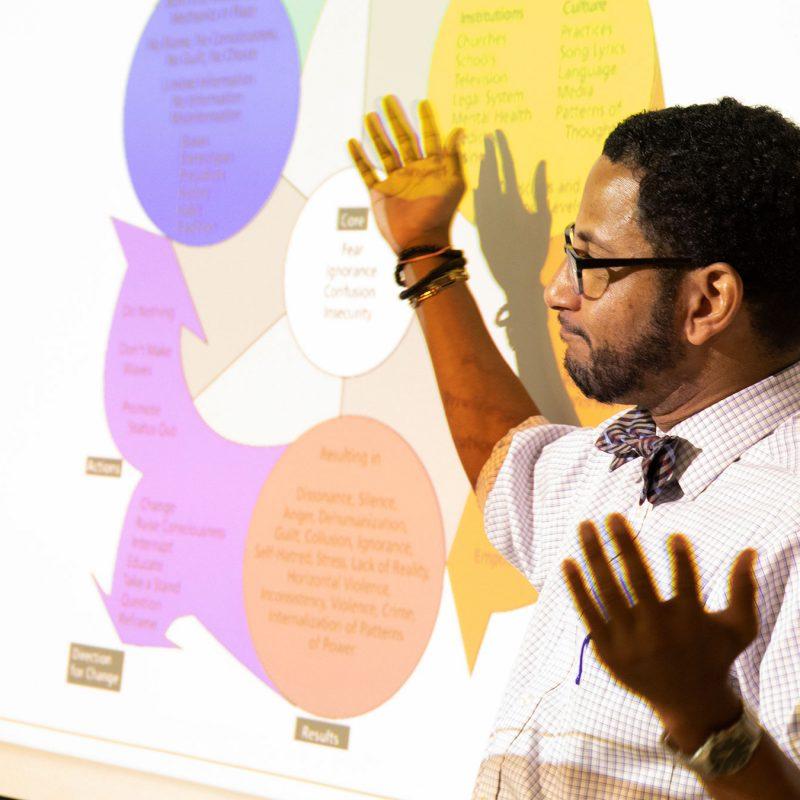 Professor stands in front of presentation