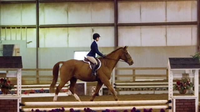 Female student rides a horse in the BC Equestrian Center