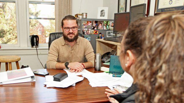 Career Services - professor advising student