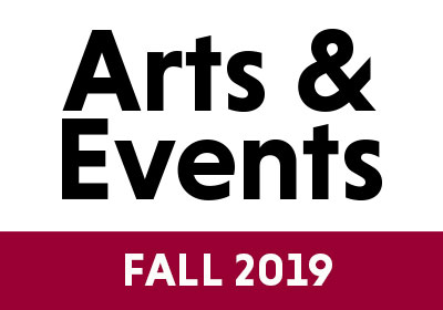 Graphic with the words Arts & Events Spring 2020|Photo of Snowden Wright|Photo of Charlotte Clymer|Photo of Christine Todd Whitman|Photo of Tempesta di Mare|Graphic with words Arts & Events Spring 2020