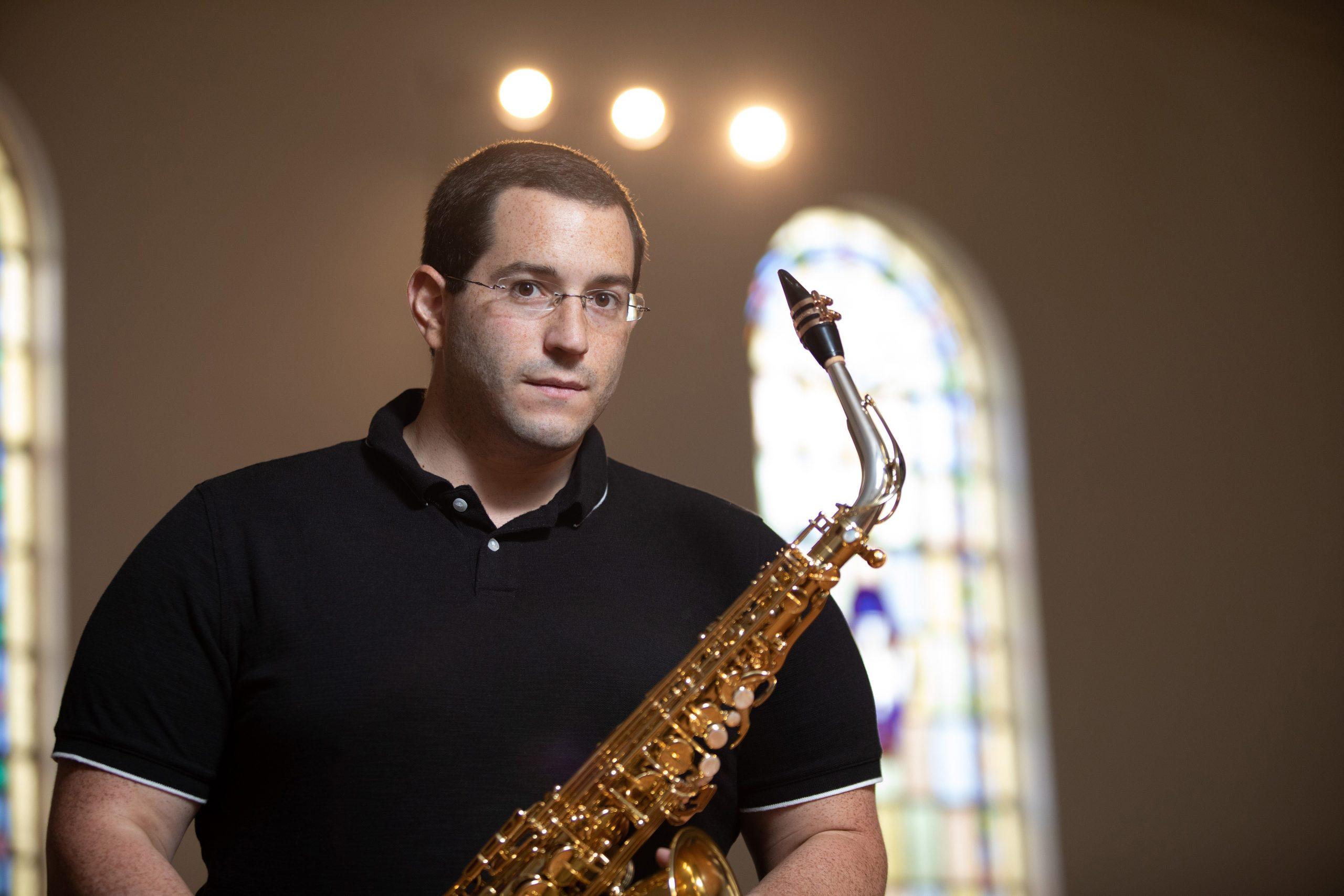 Photo of Anthony Cincotta holding saxophone