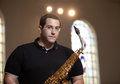 Photo of Anthony Cincotta with saxophone|Photo of Anthony Cincotta with saxophone|Photo of Anthony Cincotta with saxophone