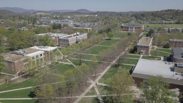 Aerial Drone Photo of Bridgewater College Campus