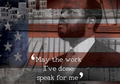 """Poster of the Rev. Dr. Mitchell with the words """"May the work I've done speak for me.""""
