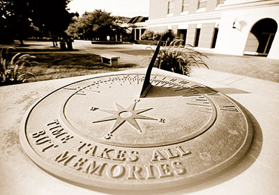 Sundial in front of McKinney Center