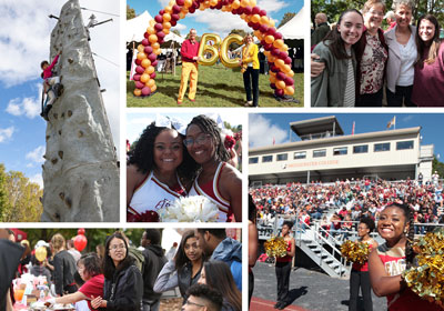 A collage of photos: Clockwise from top left. A person rock climbing. Two people standing under a balloon arch. Four people standing together for a photo. Cheerleaders cheering in front of stands of people. Three people talking together in front of a table. Two cheerleaders smiling at the camera.|Cheerleaders stand in front of crowded stands|Saxophonists play outside|||||Homecoming by the numbers. 12 animals in the petting zoo. 99 tailgating spots at Mapp Field. 53 Ripples medallions given to the class of 68. 2