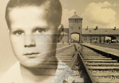 Photo of Frank Misa Grunwald as a child with train tracks and a building